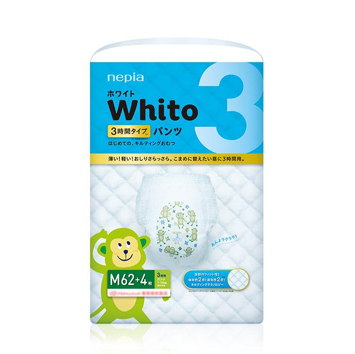 【ケース販売】nepia WhitoパンツMサイズ3時間タイプ62+4枚